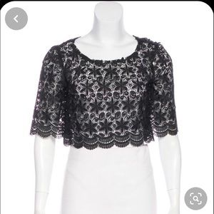 Reformation lace crop top (black)